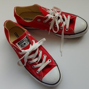 Like New Red Converse-women 8 -mens 6